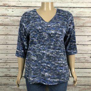 Catherines Multicolor Stripe V-neck T-shirt Top